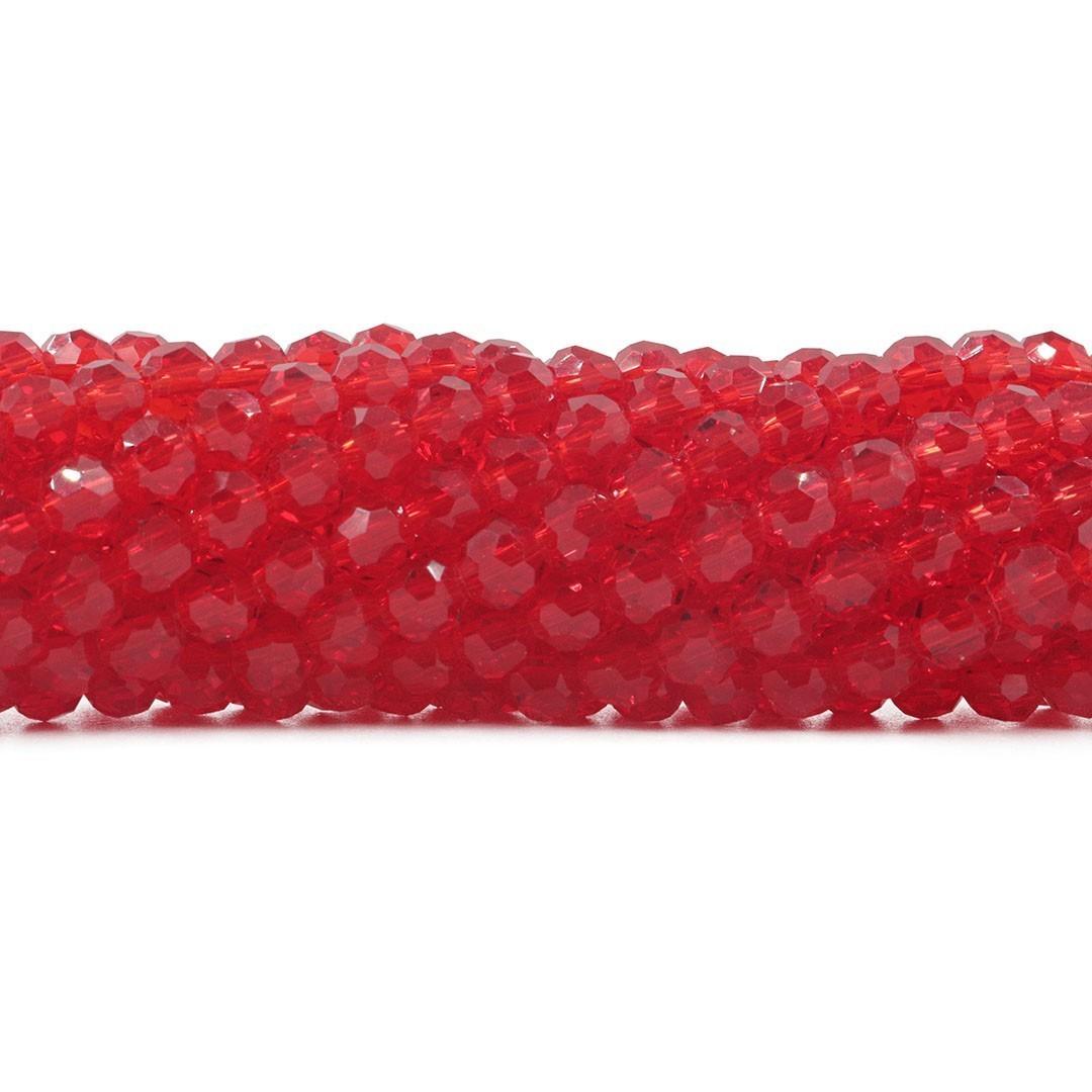 Cristal de Vidro Vermelho Facetado Bola Extra 6mm  - 98 esferas - CV502  - ArtStones