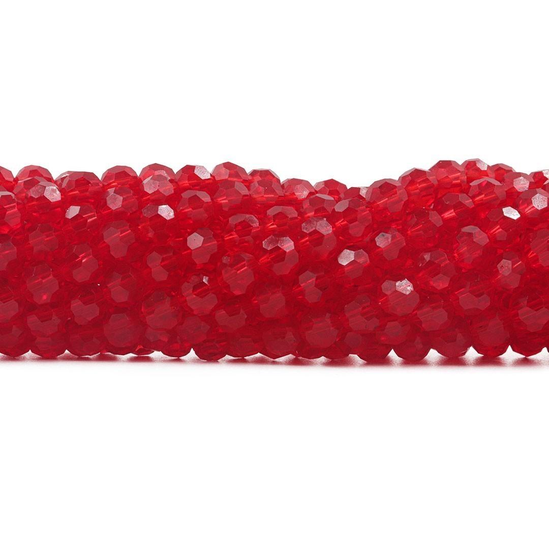 Cristal de Vidro Vermelho Facetado Bola Extra  8mm - 70 esferas - CV500  - ArtStones