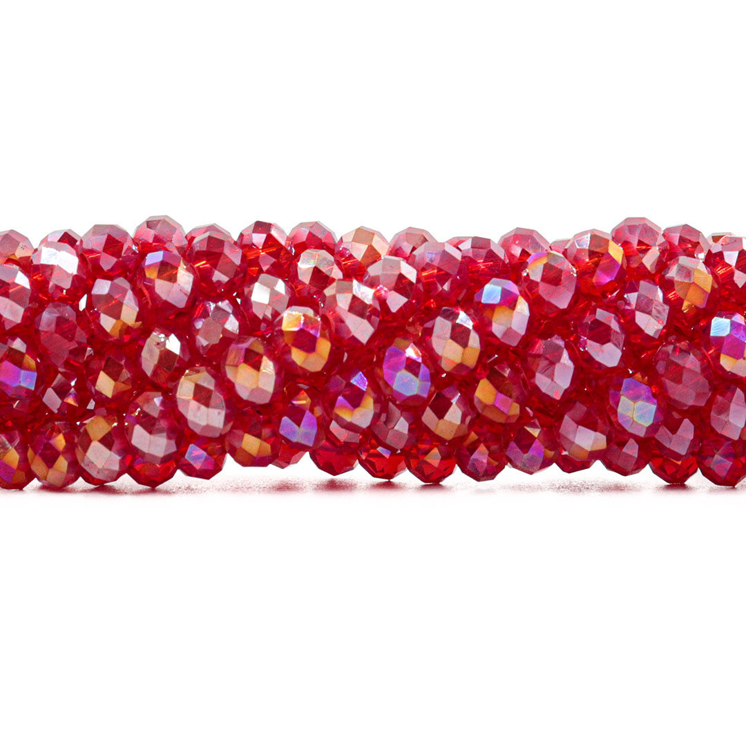 Cristal de Vidro Vermelho Boreal 6mm - 95 Cristais - CV339  - ArtStones