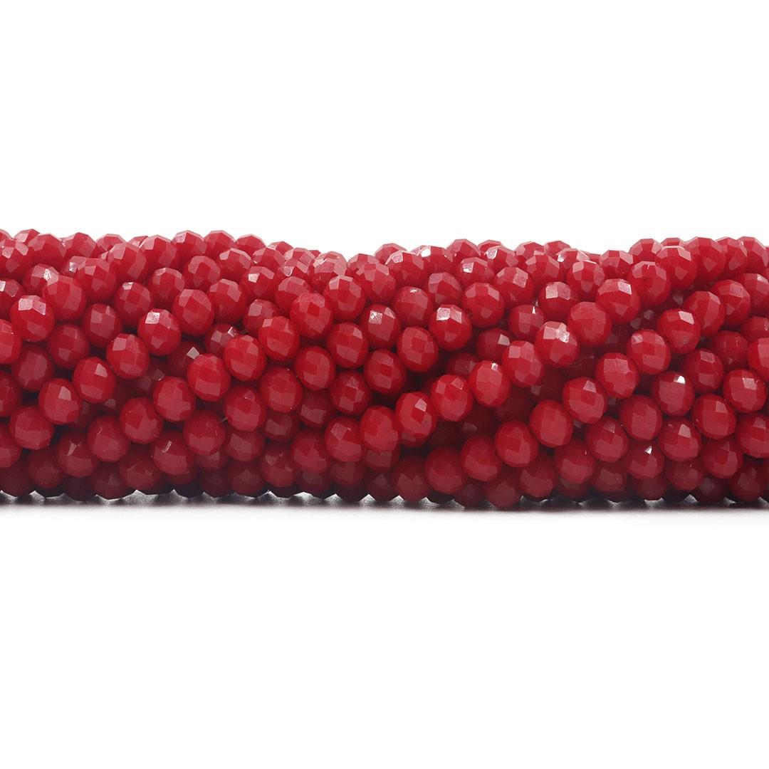 Cristal de Vidro Vermelho Sangue 4mm - 128 cristais - CV483  - ArtStones