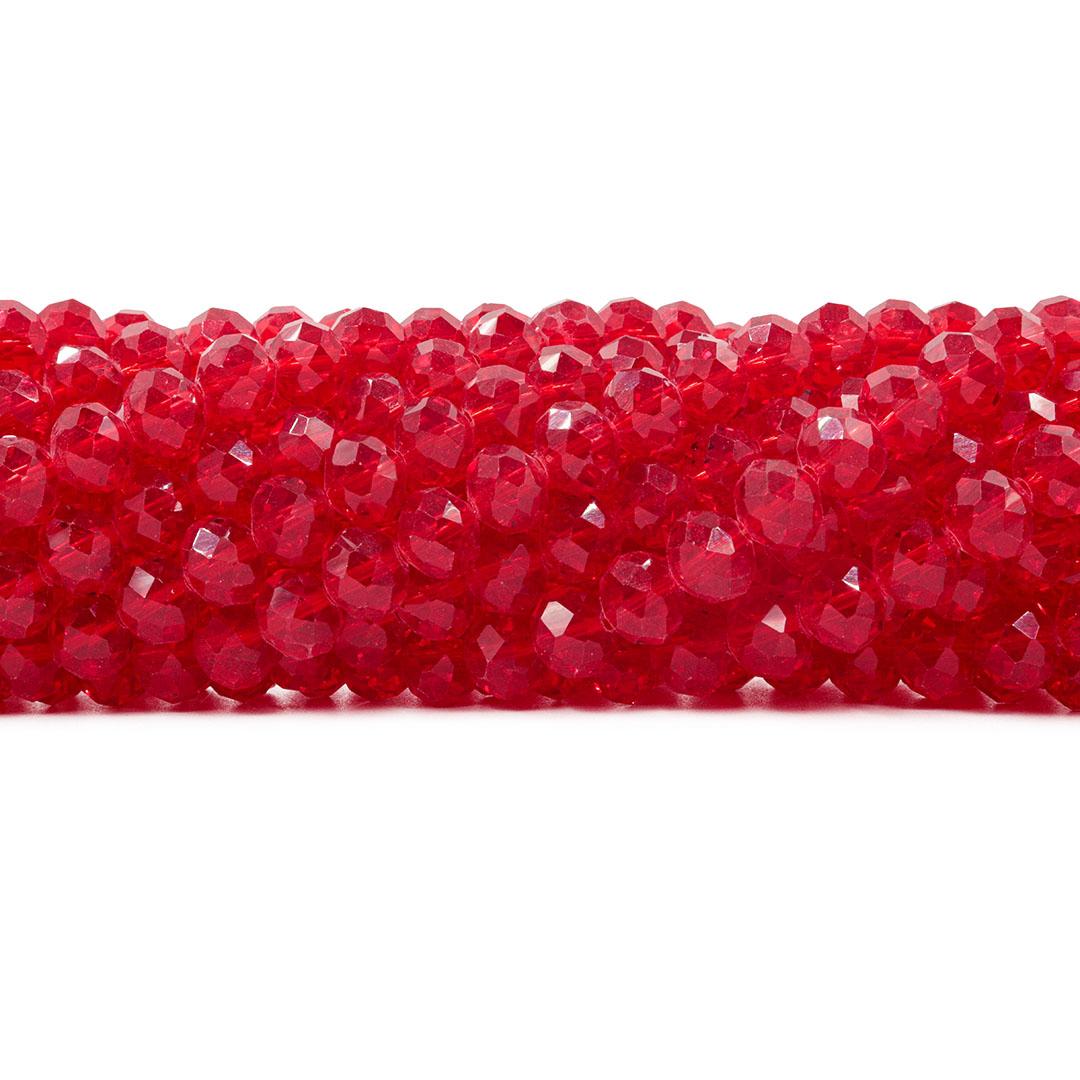 Cristal de Vidro Vermelho Translúcido Flat 10mm - 68 cristais - CV530  - ArtStones