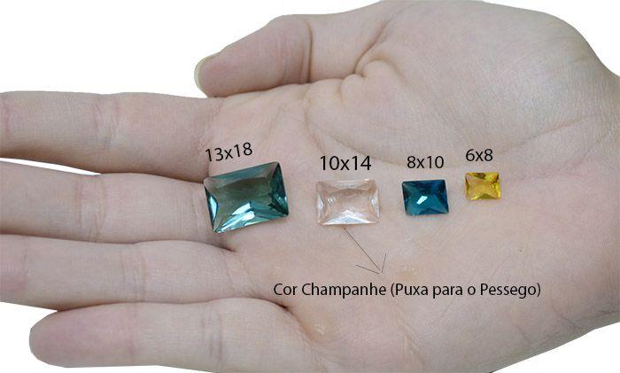 Cristal Lapidado Retangular 13x18mm - 03 peças - CL037  - ArtStones