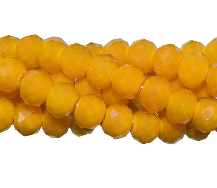 Fio de Cristal de Vidro Amarelo Canário 8mm Leitoso - 70 cristais - CV118  - ArtStones