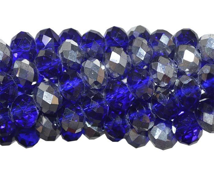 Fio de Cristal de Vidro Azul Bic com Prata 6mm - 98 cristais - CV103  - ArtStones