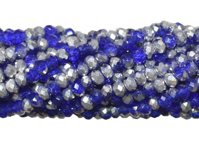Fio de Cristal de Vidro Azul Bic com Prata 4mm - 140 cristais - CV090  - ArtStones