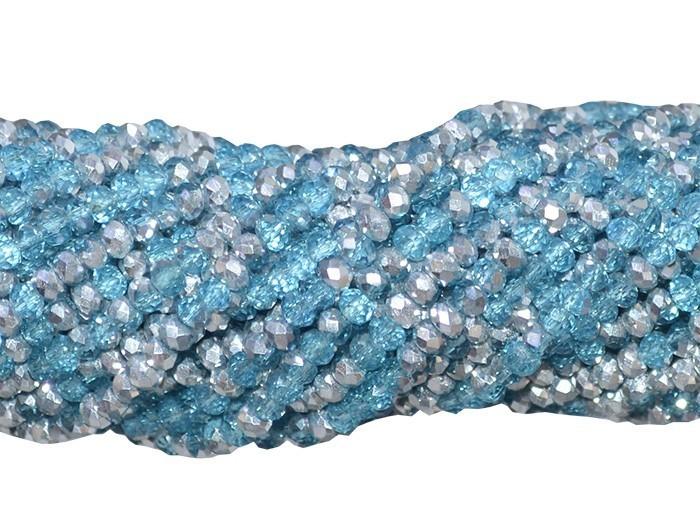 Fio de Cristal de Vidro Azul com Prata 3mm - 144 cristais - CV038  - ArtStones