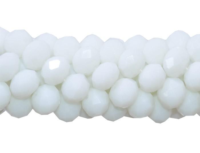 Fio de Cristal de Vidro Branco 8mm Leitoso - 70 cristais - FCR_504  - ArtStones