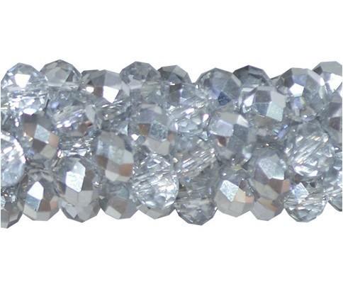 Fio de Cristal de Vidro Cinza com Prata 3mm - 144 cristais - CV056  - ArtStones