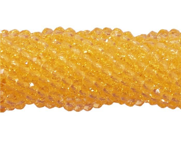 Fio de Cristal de Vidro Amarelo Canário 4mm - 140 cristais - CV091  - ArtStones