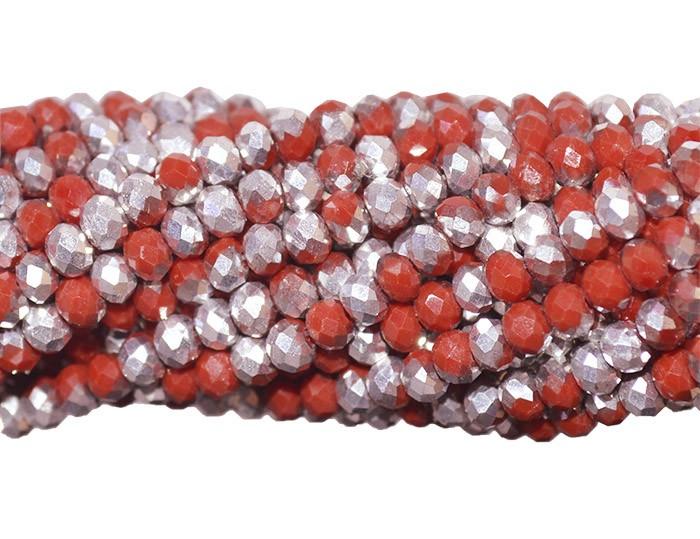 Fio de Cristal de Vidro Vermelho com Prata 4mm - 140 cristais - CV084  - ArtStones