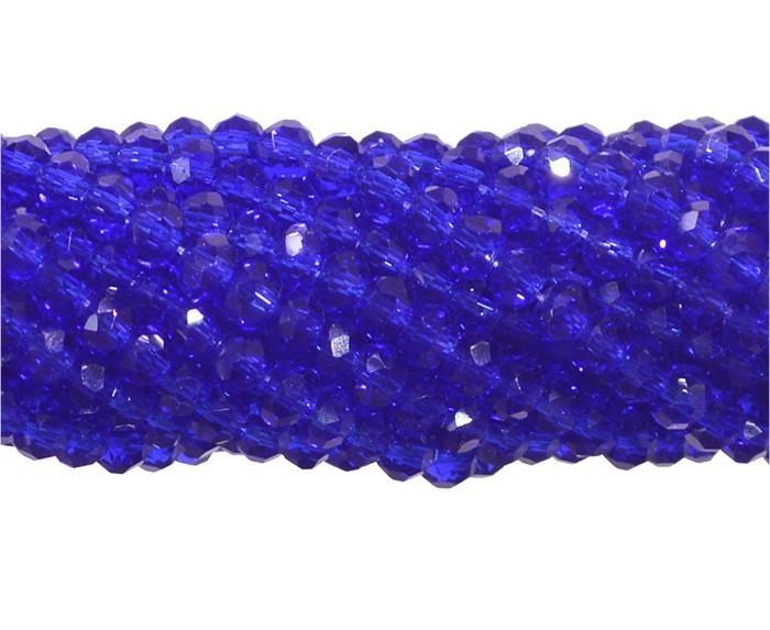 Fio de Cristal de Vidro Azul Bic 2mm - 180 cristais - CV003  - ArtStones