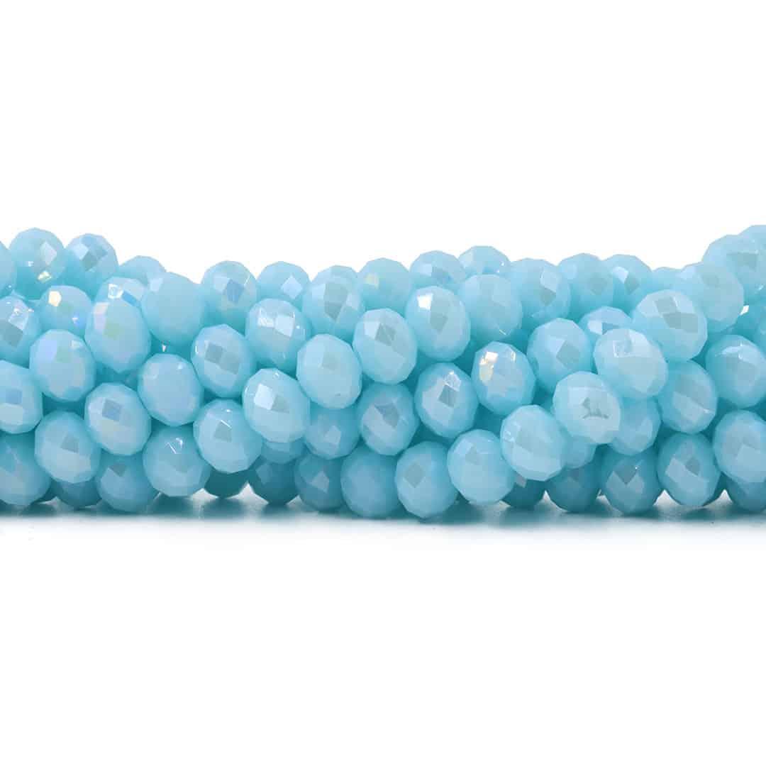 Fio de Cristal de Vidro Azul Bebê 8mm - 72 cristais - FCR_139  - ArtStones