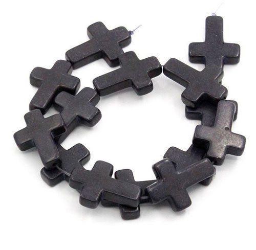 Cruz de Howlita 30x20mm Cores Variadas  - 04 peças - PA008  - ArtStones