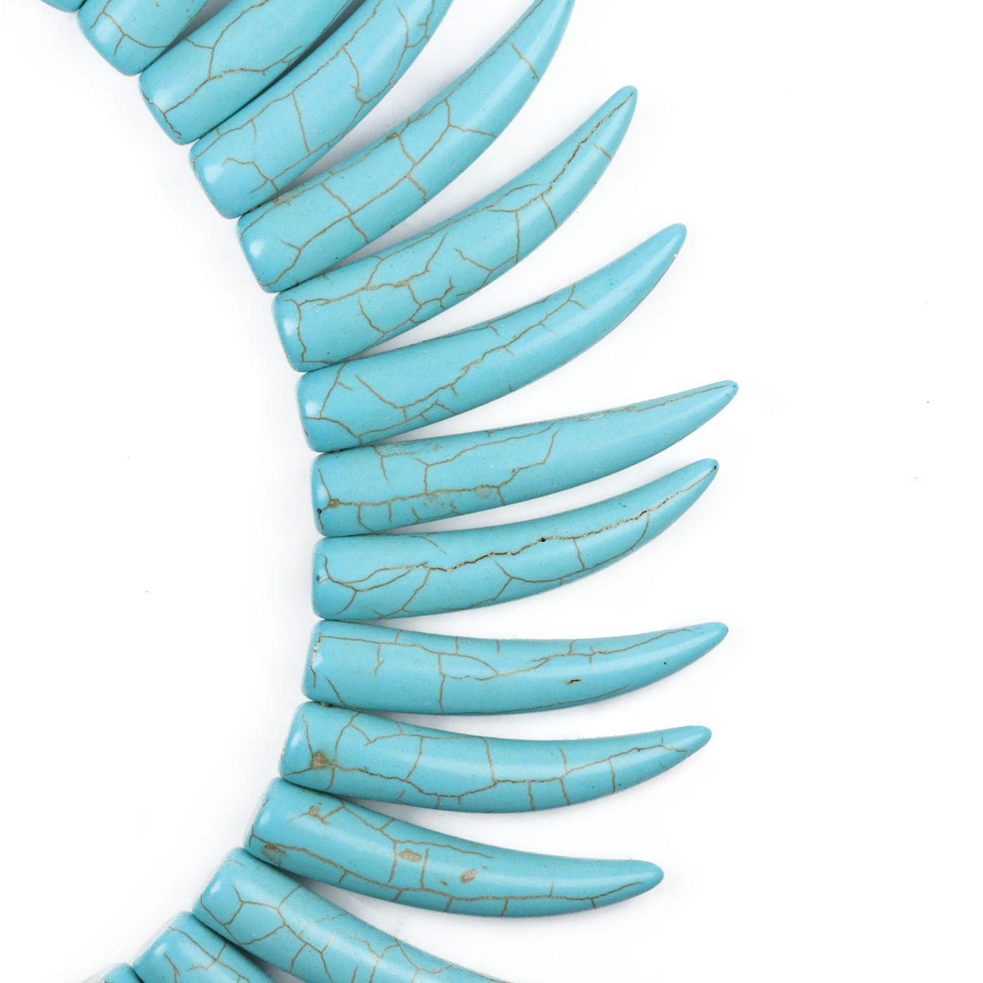 Dente de Turquesa Howlita Azul Tamanhos Variados - FIO - HO034  - ArtStones