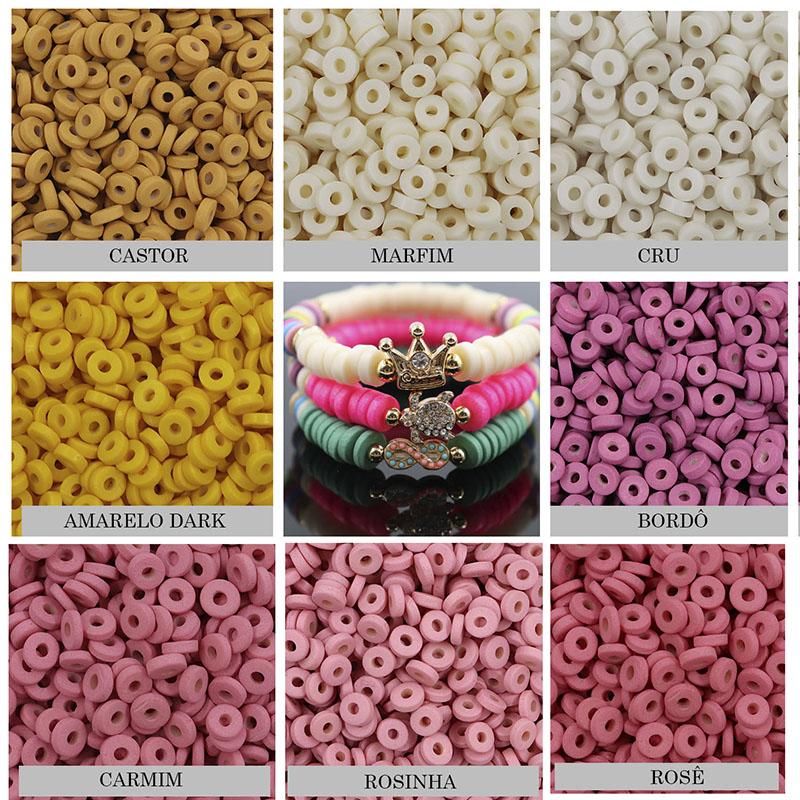 Disco Clay Colorido 10mm  tipo Fimo para Pulseiras - 30grs - OM098  - ArtStones
