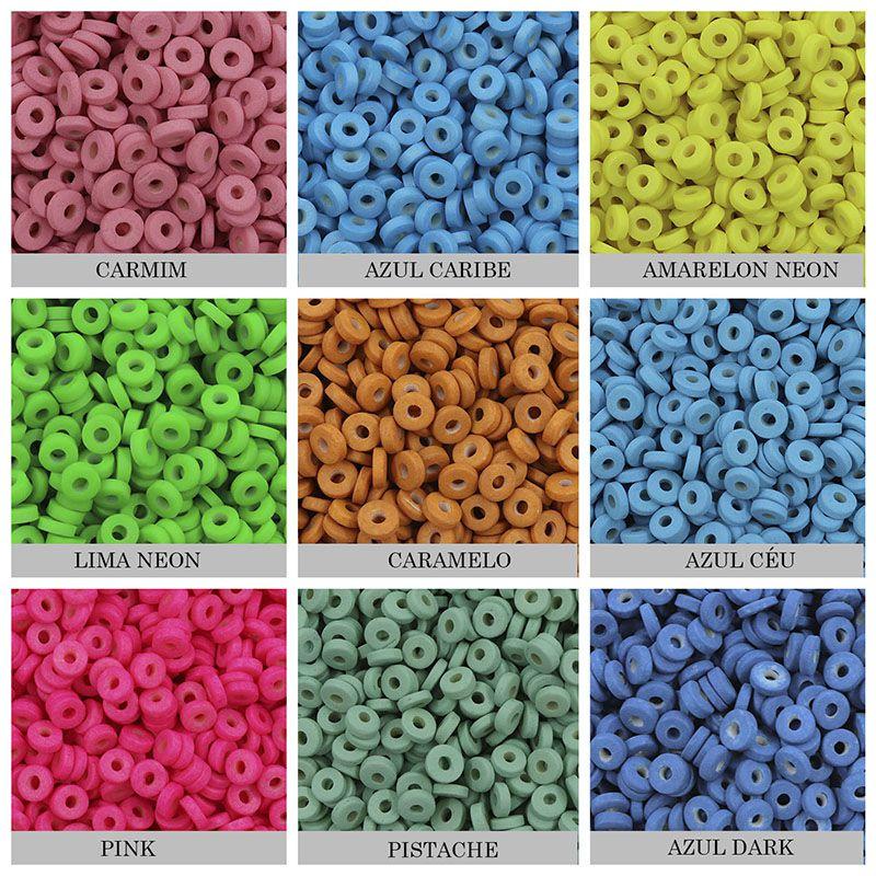 Disco Clay Colorido 7mm tipo Fimo para Pulseiras - Pacote - OM018  - ArtStones