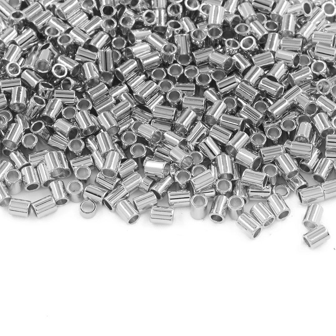 Entremeio Canutilho Liso Folheado 2.5x2mm - 2grs - FO407  - ArtStones
