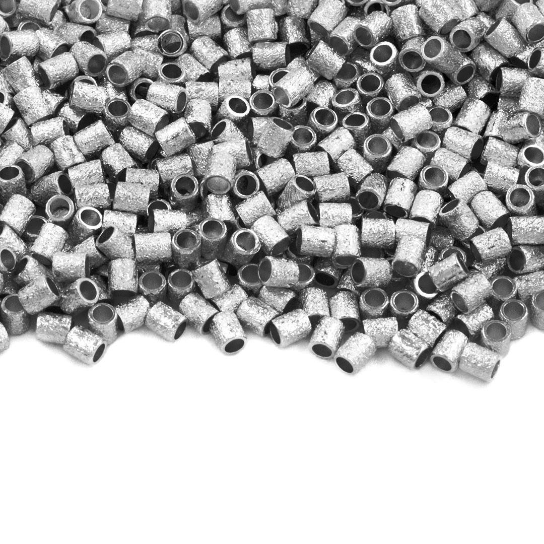 Entremeio Cilíndrico Jateado Folheado 2x1.5mm - 2grs - FO410  - ArtStones