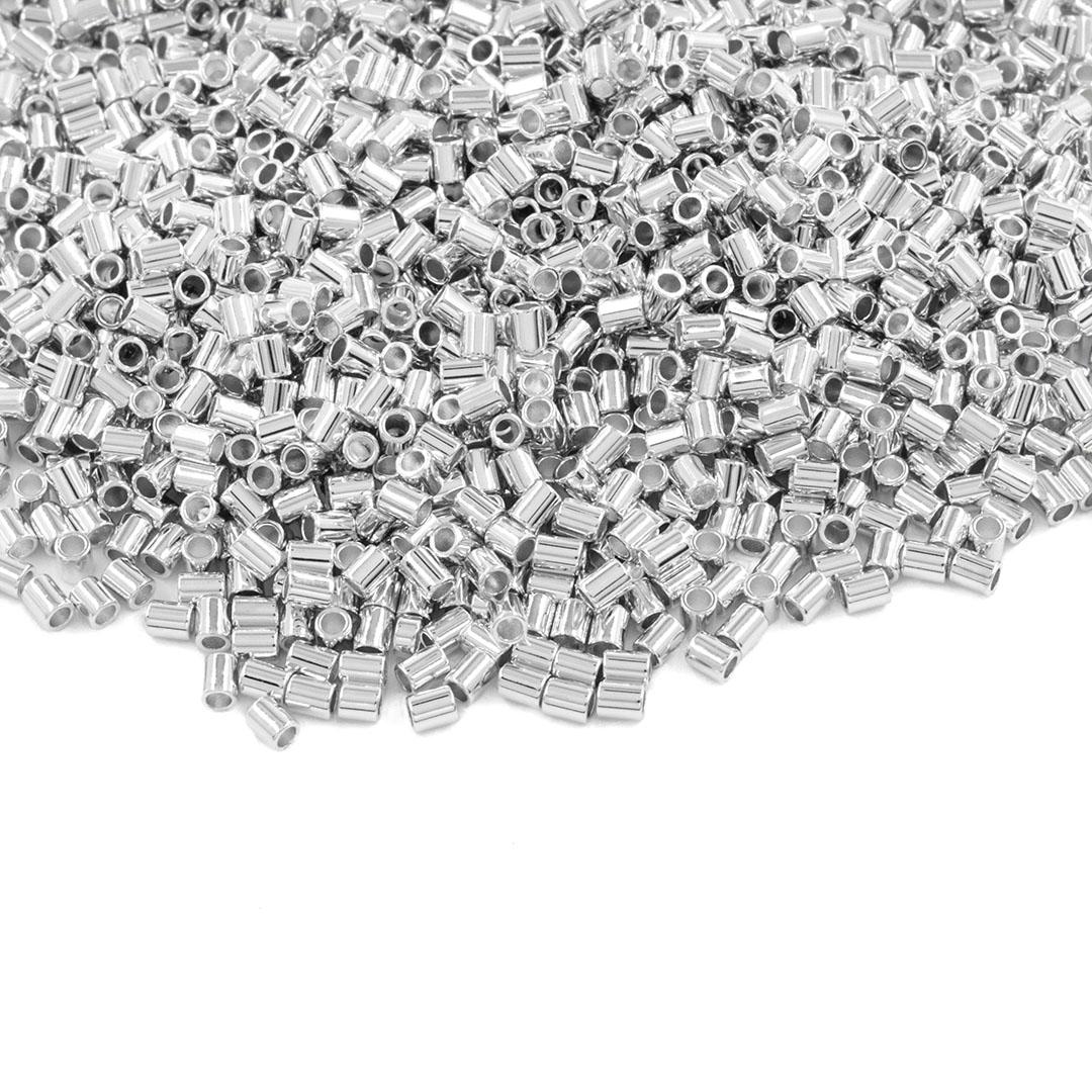 Entremeio Cilíndrico Liso Folheado 2x1.5mm - 2grs - FO408  - ArtStones