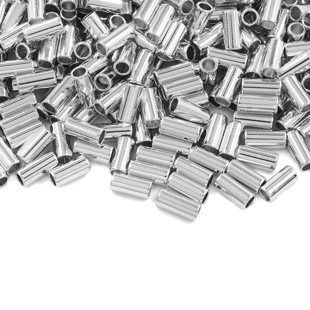 Entremeio Cilíndrico Liso Folheado 5x2.5mm - 2grs - FO409  - ArtStones