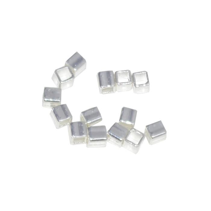 Entremeio Cubo Liso 4x4x3mm Folheado - 2grs - FO180  - ArtStones
