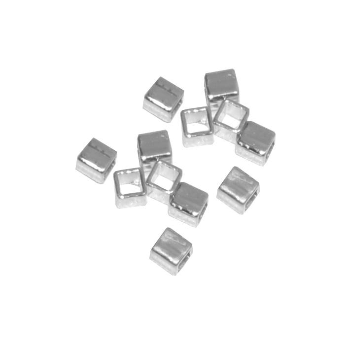 Entremeio Cubo Liso Folheado 3x3.3mm - 02 Gramas - FO484  - ArtStones