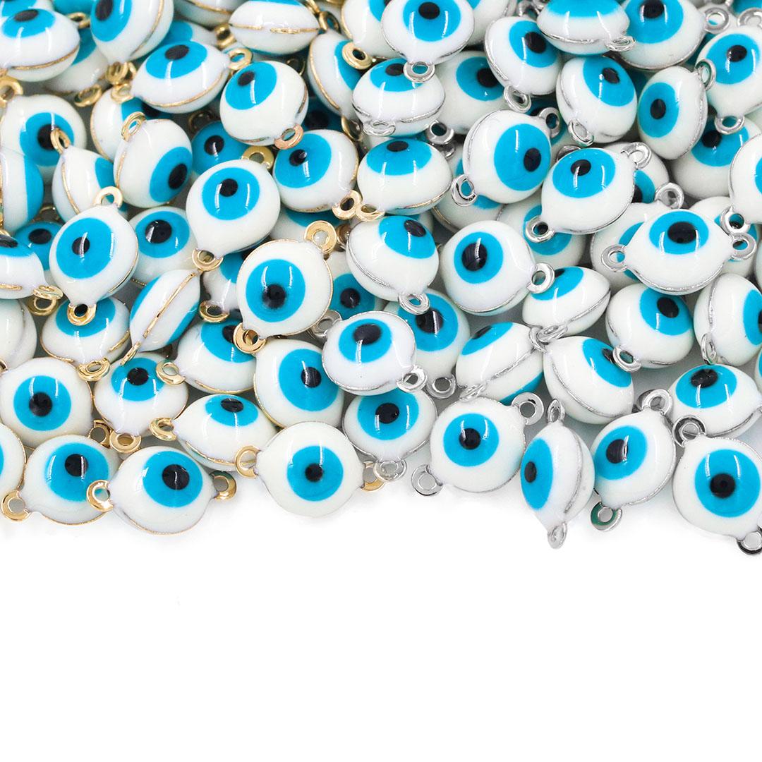 Entremeio Olho Grego 10x6mm Folheado - 5 Peças - FO118  - ArtStones