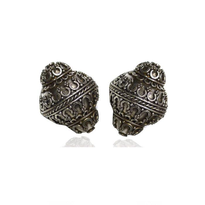 Entremeio Pião de Prata Envelhecida 925 - 1 Peça - PR074  - ArtStones