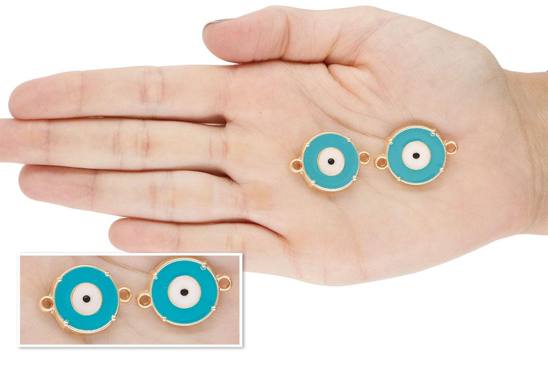Entremeio Olho Grego Metal Dourado - 27mm - Cores Variadas - 2 Peças - AM046  - ArtStones