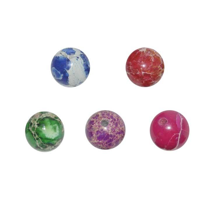 Esfera de Jaspe Impression 8mm - Cores Variadas - 03 Peças - PA096  - ArtStones
