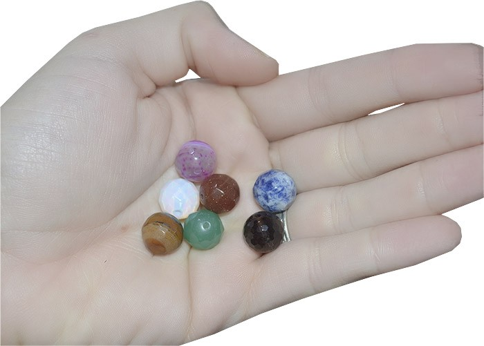 Esfera de Pedras Naturais Variadas 12mm  Facetada - 3 peças - ESF_215  - ArtStones