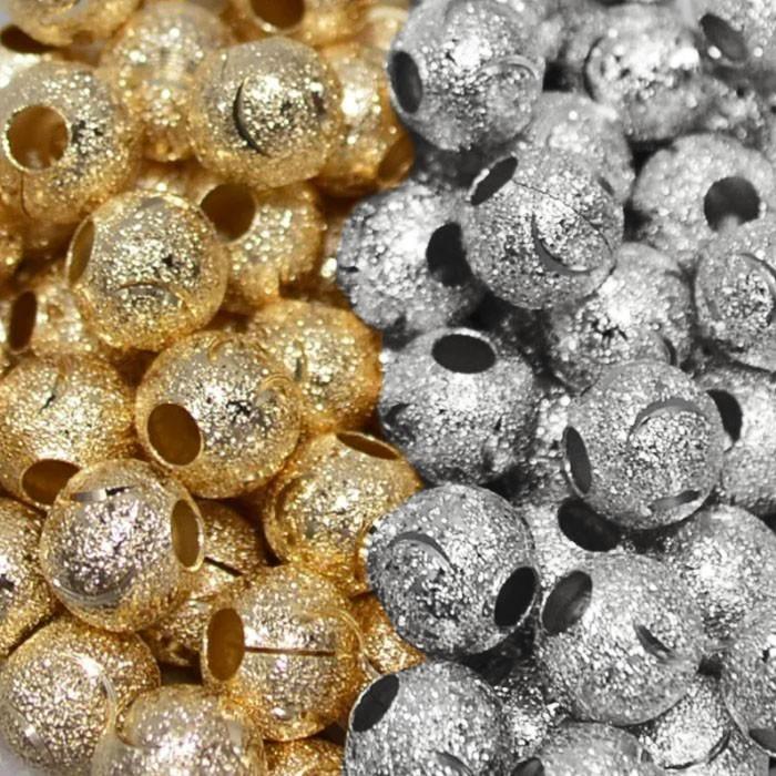 Esfera Diamantada Lua 7mm Folheada - 5 Peças - FO182  - ArtStones