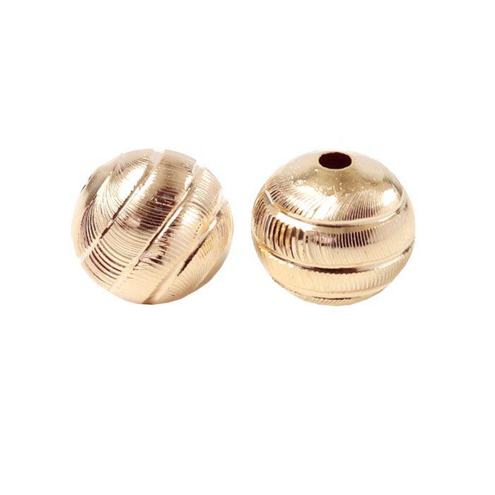 Esfera Listrada 12mm Folheada a Ouro - 02 Peças - ESFO_17  - ArtStones