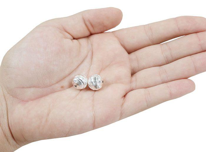 Esfera Listrada Diamantada 12mm Folheada a Prata - 02 Peças - EF_15  - ArtStones