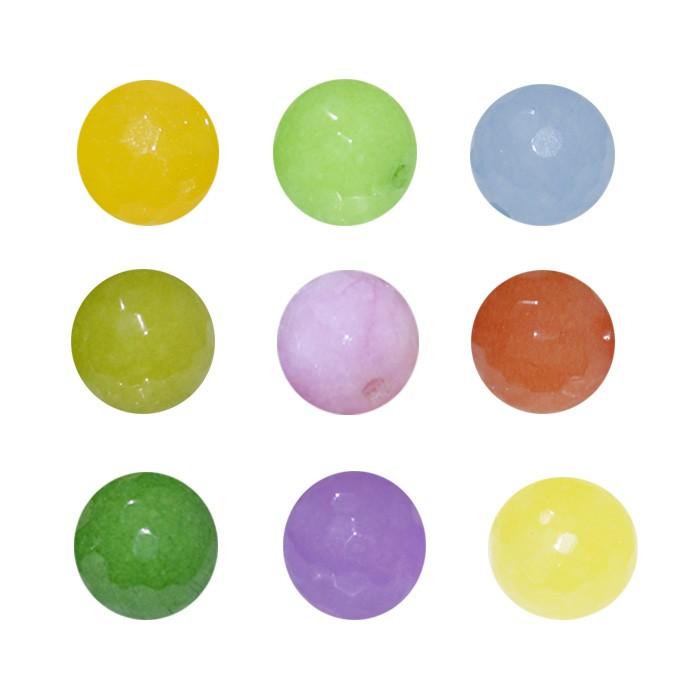 Esfera Avulsa de Jade Facetado 12mm - Cores Variadas - 4 peças - PA093  - ArtStones