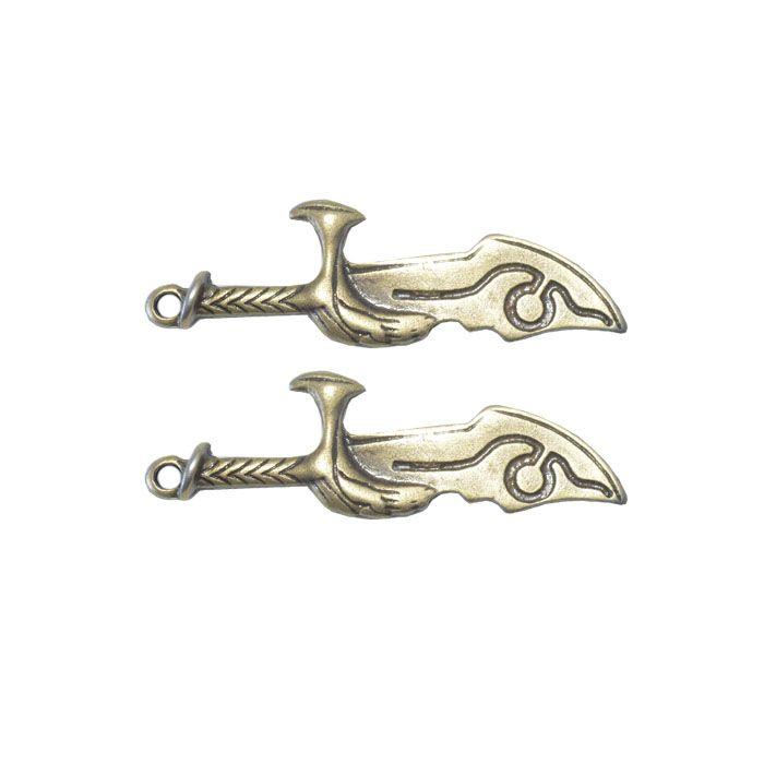 Pingente Espada de Metal Ouro Velho 51x15mm - 2 Peças - ACM_199  - ArtStones