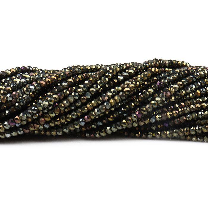 Espinélio Gold Fio com Esferas Facetadas de 2mm - PP022  - ArtStones