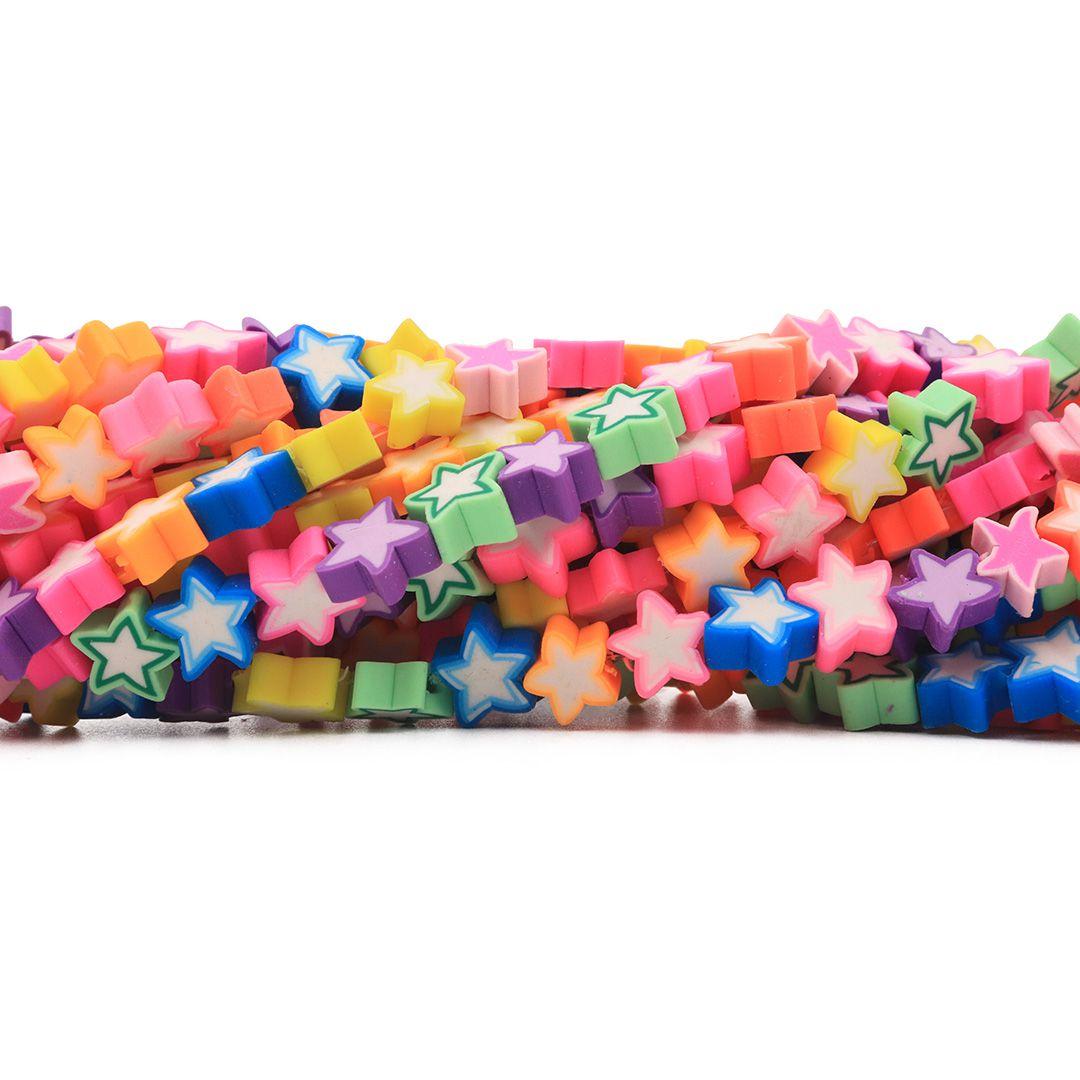 Fimo Estrela Neon Candy Diy 9mm - FM09  - ArtStones