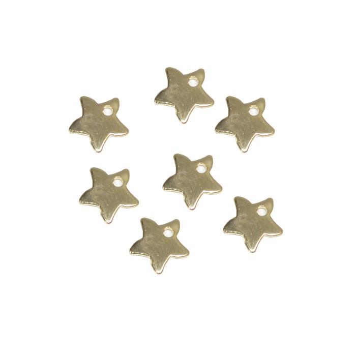 Penduricalho Estrela 6mm Folheado a Ouro - 06 peças - PEF_102  - ArtStones