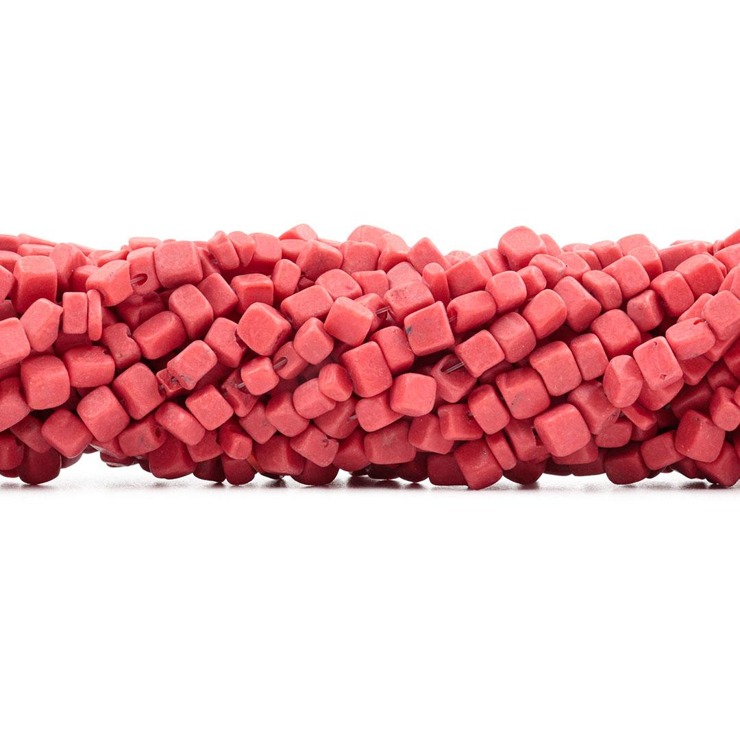 Fio de Cascalho Cubo de Howlita Vermelha - FC085  - ArtStones