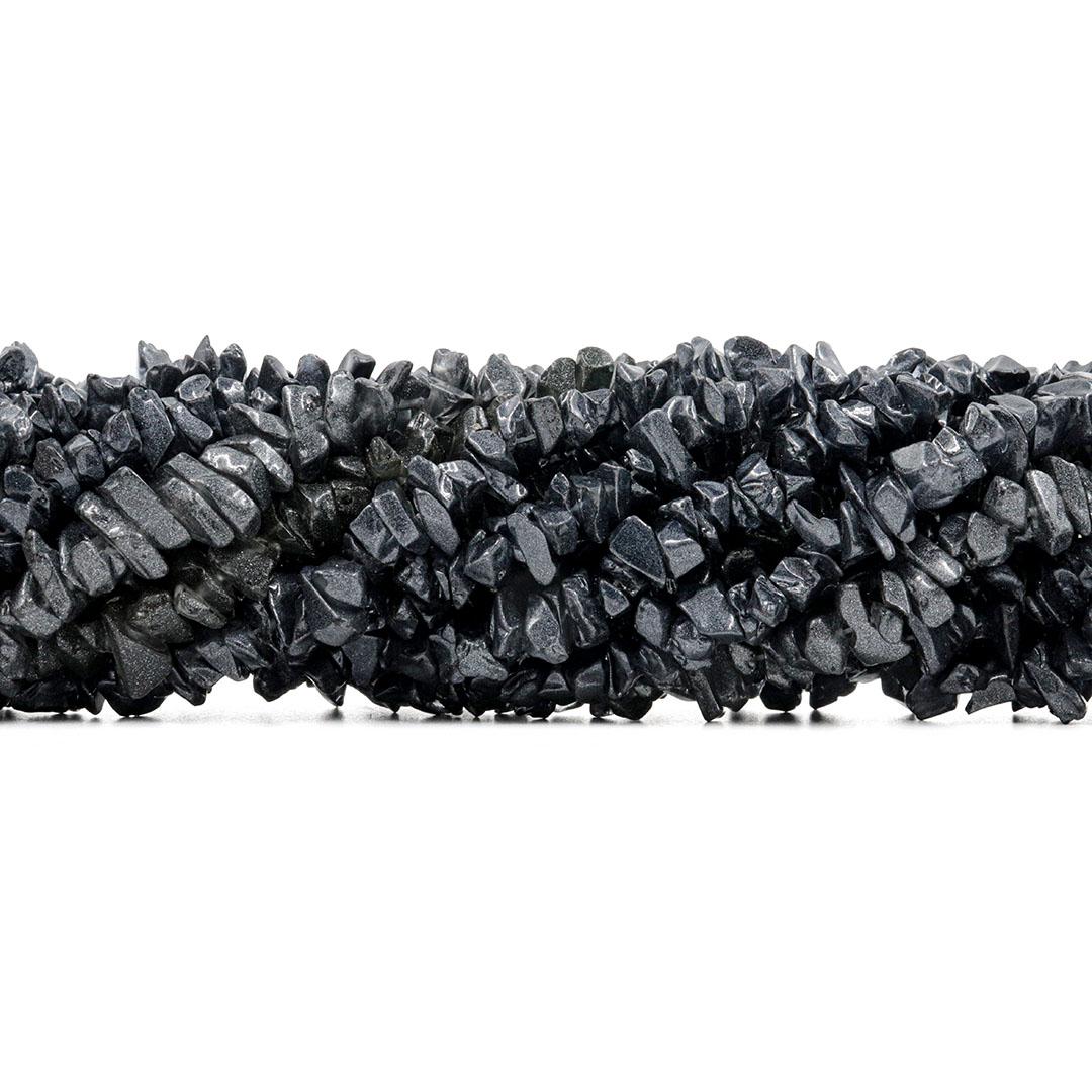 Fio de Cascalho de Cristal de Vidro Grafite - FC110  - ArtStones