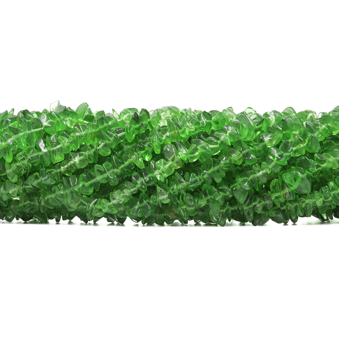 Fio de Cascalho de Cristal de Vidro Turmalina Verde - FC112  - ArtStones