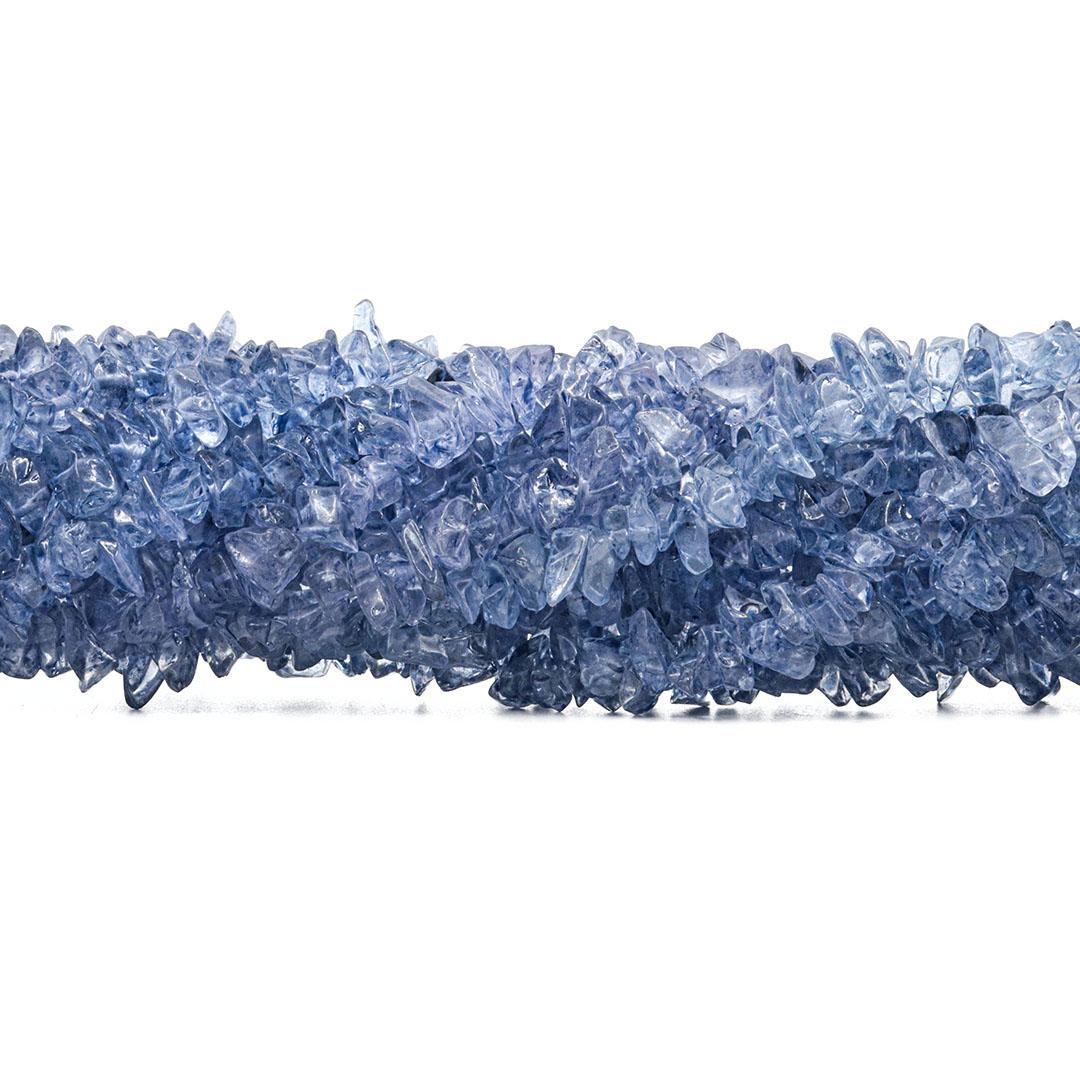 Fio de Cascalho de Cristal de Vidro Azul Claro - FC129  - ArtStones