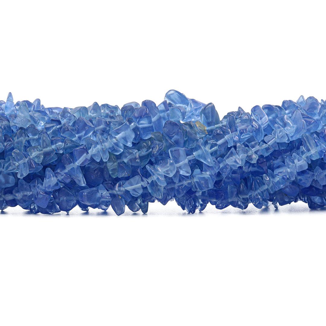 Fio de Cascalho de Cristal de Vidro Fosco Azul Royal - FC130  - ArtStones