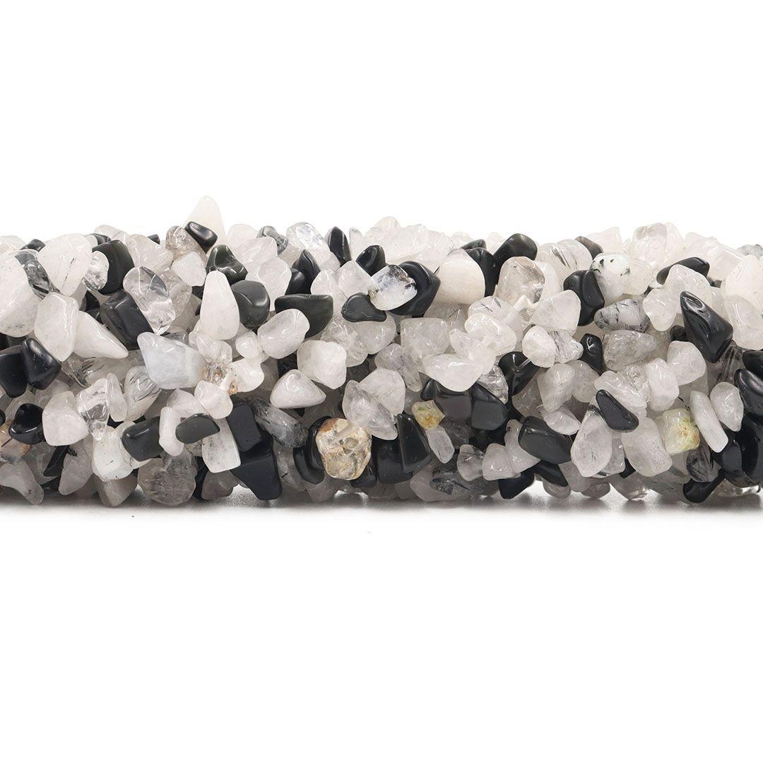 Fio de Cascalho de Quartzo Rutilado Natural - FC049  - ArtStones