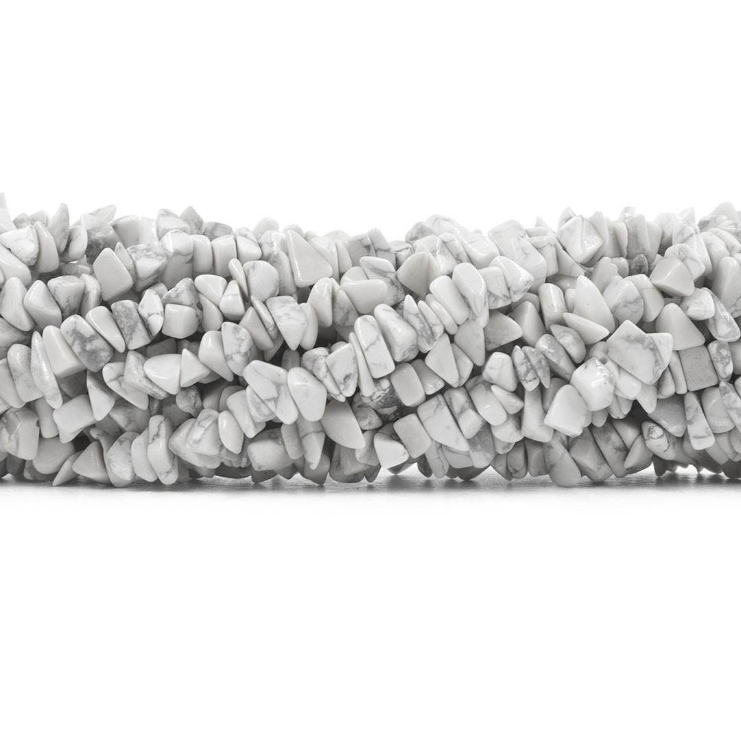 Fio de Cascalho de Howlita Branca - FC075  - ArtStones