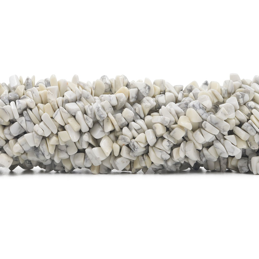 Fio de Cascalho de Howlita Branca Mesclada - FC042  - ArtStones