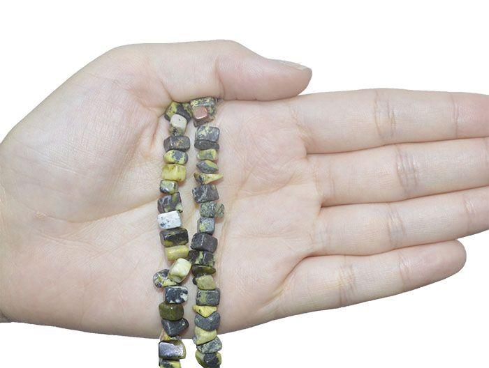 Fio de Cascalho de Jaspe Verde Mesclado - FC040  - ArtStones