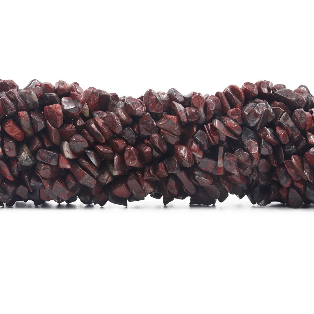 Fio de Cascalho de Jaspe Vermelho Listra - FC045  - ArtStones