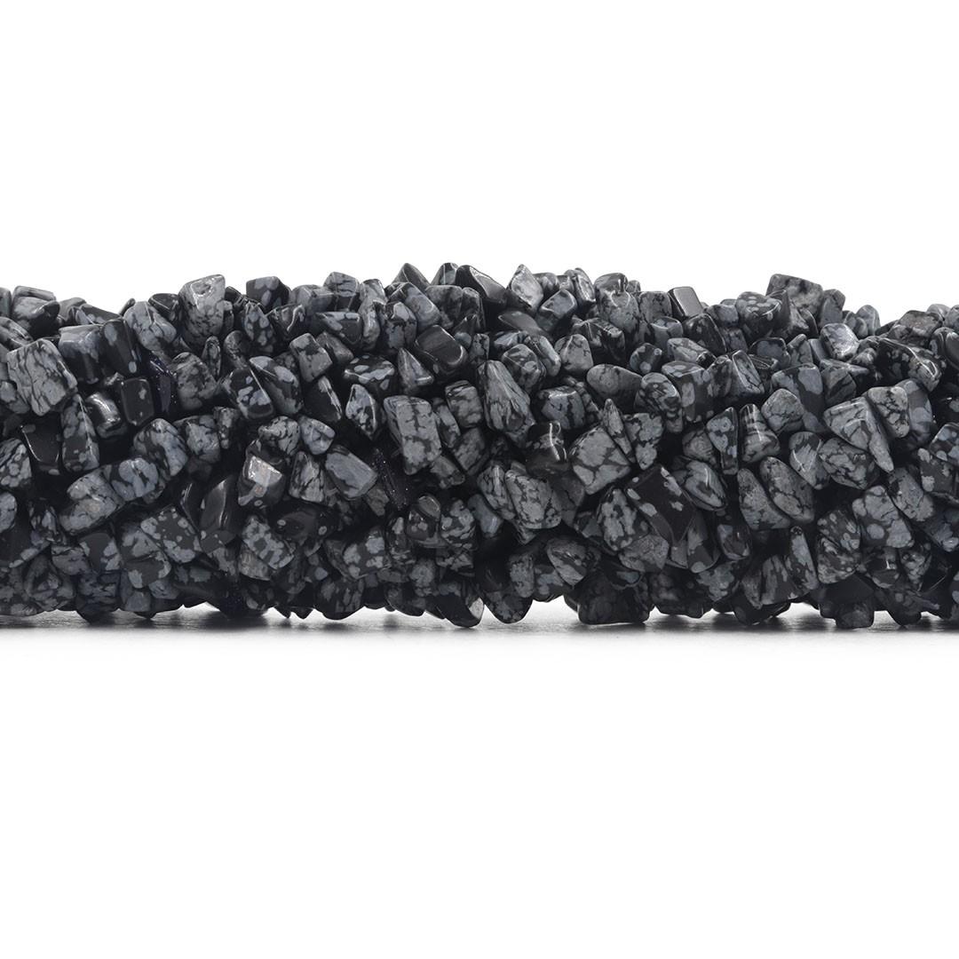 Fio de Cascalho de Obsidiana Floco de Neve Extra - FC008  - ArtStones